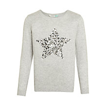 Buy John Lewis Girls' Sequin Star Jumper, Grey Online at johnlewis.com