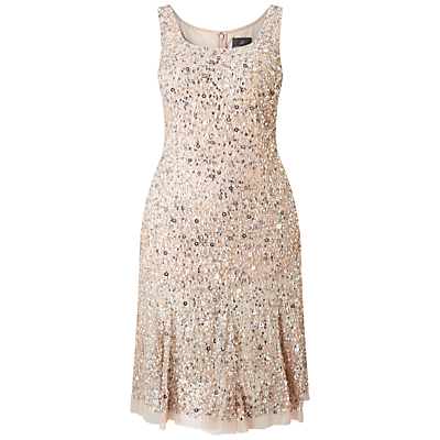 Adrianna Papell Plus Size Sleeveless Beaded Cocktail Dress BlushMulti £250.00 AT vintagedancer.com