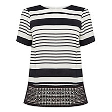 Buy Oasis Lace Hem Stripe Top, Multi Online at johnlewis.com