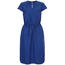 Buy Jaeger Linen Drawstring Dress, Bright Blue Online at johnlewis.com