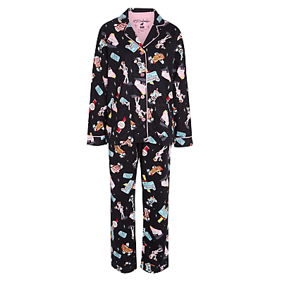 PJ Salvage Diner Flannel Pyjama Set, Black/Multi