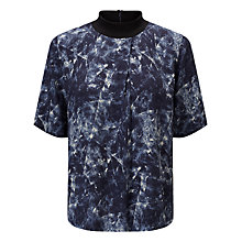 Buy Kin by John Lewis Quartz Print Funnel Neck Top, Blue Online at johnlewis.com