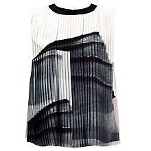 Buy Kin by John Lewis Limited Edition Pleated Printed Top, Black/White Online at johnlewis.com