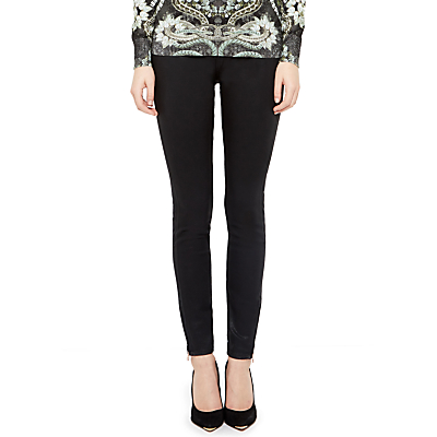 Ted Baker Skinny Wax Oil High Waisted Jeans, Black