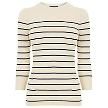 Buy Warehouse Breton Stripe Crew Jumper, Cream Online at johnlewis.com