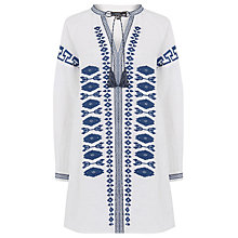 Buy Warehouse Linen Embroidered Tunic Dress, Neutral Online at johnlewis.com