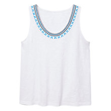Buy Violeta by Mango Embroidered Cotton Top, White Online at johnlewis.com