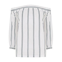 Buy Warehouse Stripe Off Shoulder Top, Multi Online at johnlewis.com