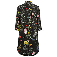 Buy Warehouse Pattern Scatter Floral Shirt Dress, Black Online at johnlewis.com