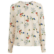 Buy Warehouse Spaced Floral Print Top, Neutral Online at johnlewis.com