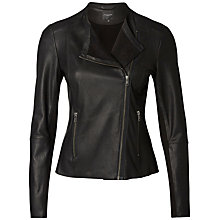 Buy Selected Femme Leather Jacket, Black Online at johnlewis.com