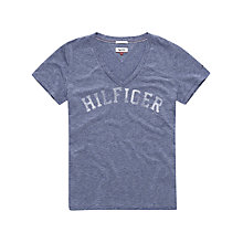 Buy Hilfiger Denim V Neck Logo T-shirt, Majolica Blue Online at johnlewis.com