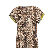 Buy Marc Cain Leopard Print Silk-Blend Blouse, White Coffee Online at johnlewis.com