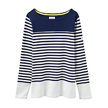 Buy Joules Harbour Colour Block Stripe Jersey Top, French Navy Block Online at johnlewis.com