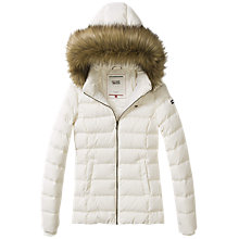 Buy Hilfiger Denim Hooded Down Filled Jacket, Egret Online at johnlewis.com