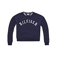Buy Hilfiger Denim Stripe Logo Sweatshirt, Navy Blazer/Classic White Online at johnlewis.com