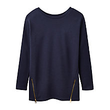 Buy Joules Milton Side Zip Ribbed Sweatshirt, French Navy Online at johnlewis.com