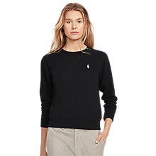 Buy Polo Ralph Lauren Round Neck Fleece Sweatshirt, Polo Black Online at johnlewis.com