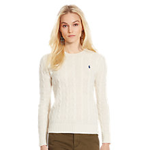 Buy Polo Ralph Lauren Julianna Cable Knit Jumper, Cream Online at johnlewis.com