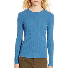 Buy Polo Ralph Lauren Julianna Cable Knit Jumper, Night Blue Heather Online at johnlewis.com