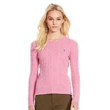 Buy Polo Ralph Lauren Julianna Cable Knit Jumper, Wesley Pink Heather Online at johnlewis.com