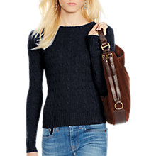 Buy Polo Ralph Lauren Julianna Cable Knit Cashmere Jumper, Hunter Navy Online at johnlewis.com