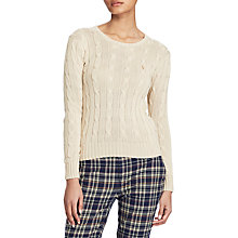 Buy Polo Ralph Lauren Julianna Cable Knit Cotton Jumper, Cream Online at johnlewis.com
