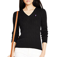 Buy Polo Ralph Lauren Kimberly V-Neck Cable Knit Jumper, Polo Black Online at johnlewis.com