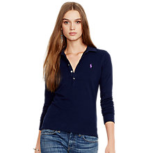 Buy Polo Ralph Lauren Julie Skinny Fit Stretch Long Sleeve Polo Shirt, Cruise Navy Online at johnlewis.com