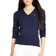 Buy Polo Ralph Lauren Kimberly V-Neck Cable Knit Jumper, Hunter Navy Online at johnlewis.com