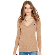 Buy Polo Ralph Lauren Kimberly Wool-Blend Cable Knit Jumper, Dark Beige Heather Online at johnlewis.com
