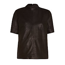 Buy Selected Femme Jone Leather Top, Black Online at johnlewis.com