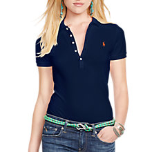 Buy Polo Ralph Lauren Julie Skinny Fit Stretch Polo Shirt, Cruise Navy Online at johnlewis.com