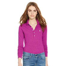 Buy Polo Ralph Lauren Julie Skinny Fit Stretch Long Sleeve Polo Shirt, Bright Magenta Online at johnlewis.com