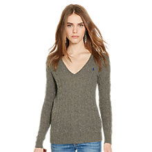Buy Polo Ralph Lauren Kimberly Wool-Blend Cable Knit Jumper, Antique Heather Online at johnlewis.com