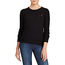 Buy Polo Ralph Lauren Julianna Cable Knit Jumper, Polo Black Online at johnlewis.com