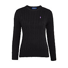Buy Polo Ralph Lauren Julianna Cable Knit Cotton Jumper, Polo Black Online at johnlewis.com