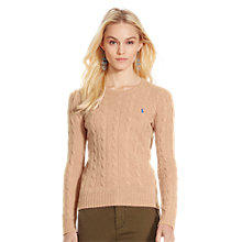 Buy Polo Ralph Lauren Julianna Cable Knit Jumper, Dark Beige Heather Online at johnlewis.com