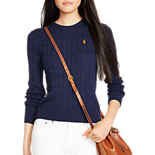 Buy Polo Ralph Lauren Julianna Cable Knit Cotton Jumper, Hunter Navy Online at johnlewis.com