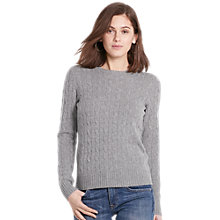 Buy Polo Ralph Lauren Julianna Cable Knit Cashmere Jumper, Fawn Grey Heather Online at johnlewis.com
