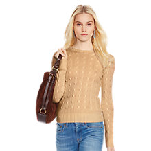 Buy Polo Ralph Lauren Julianna Cable Knit Cashmere Jumper, Camel Melange Online at johnlewis.com