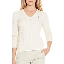 Buy Polo Ralph Lauren Kimberly V-Neck Cable Knit Jumper, Cream Online at johnlewis.com
