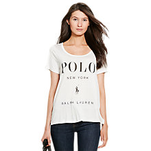 Buy Polo Ralph Lauren Scoop Neck Logo T-Shirt, White Online at johnlewis.com