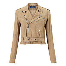 Buy Polo Ralph Lauren Suede Biker Jacket, Saddlery Tan Online at johnlewis.com