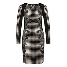 Buy Marc Cain Gingham Panel Dress, Black Online at johnlewis.com