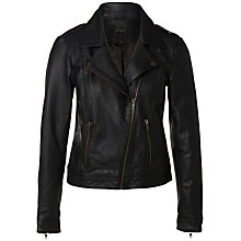 Buy Selected Femme Alba Leather Jacket, Black Online at johnlewis.com