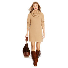 Buy Polo Ralph Lauren Oversized Turtle Neck Dress, Camel Melange Online at johnlewis.com
