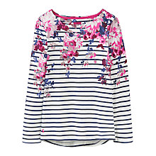 Buy Joules Harbour Print Jersey Top, Cream Floral Stripe Online at johnlewis.com
