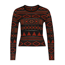 Buy Marc Cain Aztec Studded Jumper, Red Ochre Online at johnlewis.com