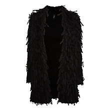 Buy Marc Cain Long Sleeve Shaggy Coat, Black Online at johnlewis.com